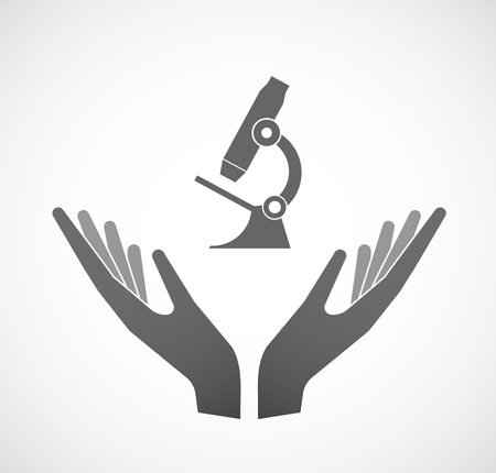 Illustration of an isolated hands offering sign with  a microscope icon Illustration
