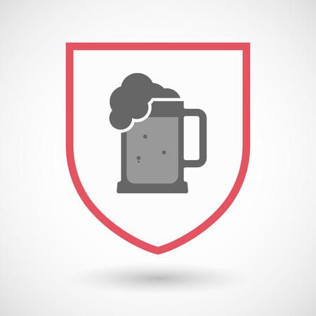 beer jar: Ilustración de un hecho aislado blindaje línea de arte con un icono de jarra de cerveza