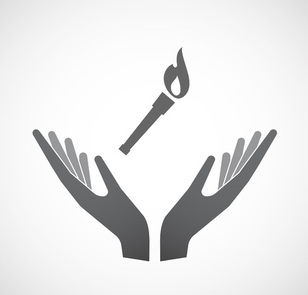 Illustration of an isolated hands offering sign with  a torch icon Illustration