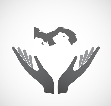 Illustration of an isolated hands offering sign with  the Panama map Illustration