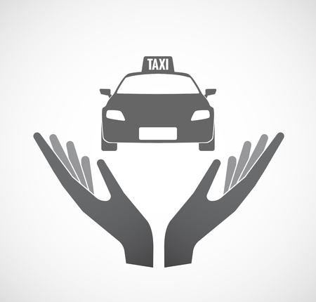 Illustration of an isolated hands offering sign with  a taxi icon