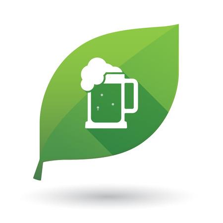 beer jar: Ilustración de un signo de hoja verde larga sombra aislada con un icono de jarra de cerveza