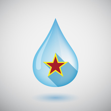 red star: Illustration of an isolated long shadow  water drop with  the red star of communism icon