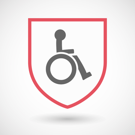 royal person: Illustration of an isolated line art shield with  a human figure in a wheelchair icon Illustration