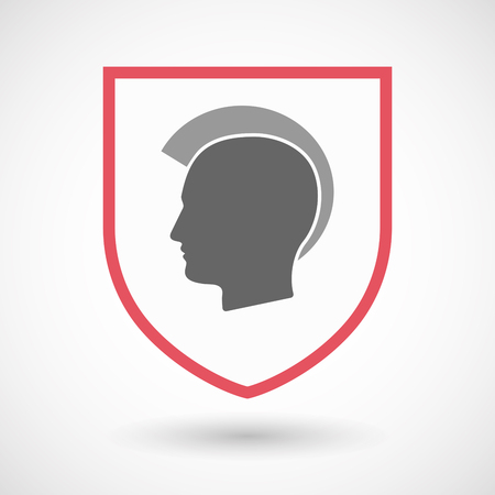 royal person: Illustration of an isolated line art shield with  a male punk head silhouette