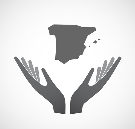 Illustration of an isolated hands offering sign with  the map of  Spain