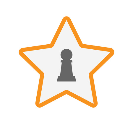 Illustration of an isolated line art star with a  pawn chess figure