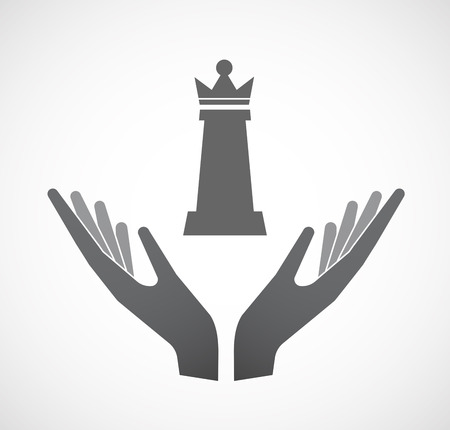 hand stand: Illustration of an isolated hands offering sign with a  queen   chess figure Illustration