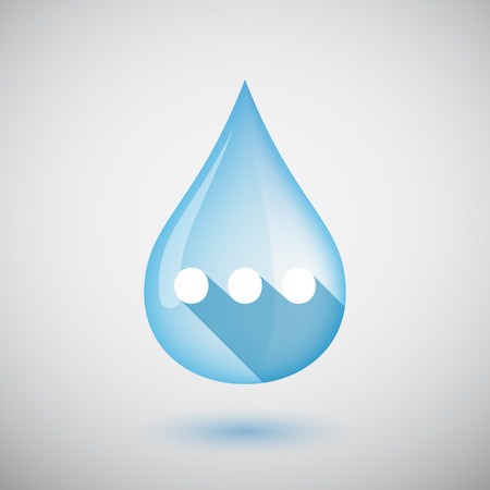 ellipsis: Illustration of an isolated long shadow  water drop with  an ellipsis orthographic sign Illustration
