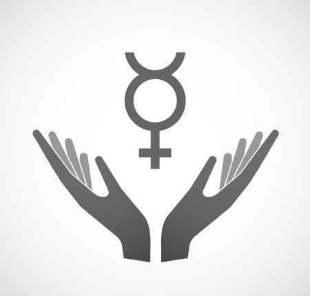 Illustration of an isolated hands offering sign with  the mercury planet symbol Illustration