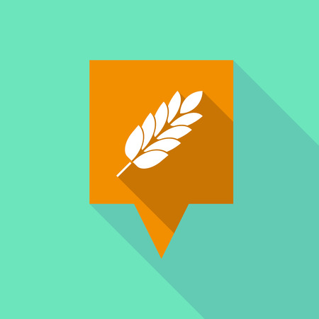 Illustration of a long shadow tooltip with  a wheat plant icon