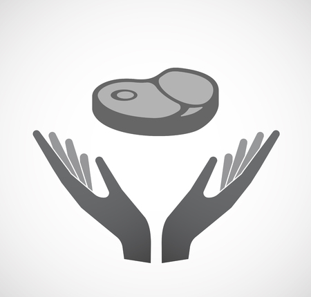 Illustration of an isolated hands offering sign with  a steak icon Ilustrace