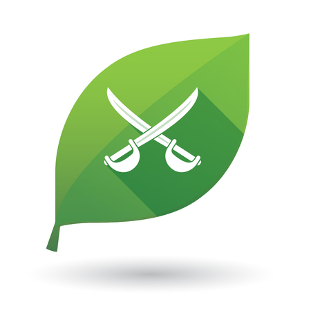 Illustration of an isolated long shadow green leaf sign with  two swords crossed Illustration