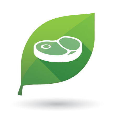 Illustration of an isolated long shadow green leaf sign with  a steak icon