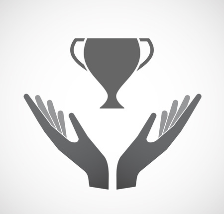 Illustration of an isolated hands offering sign with  an award cup
