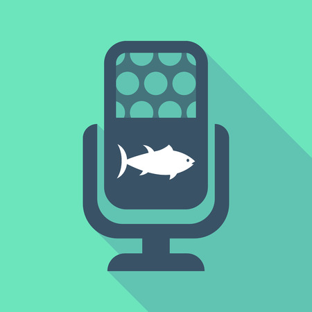 tuna fish: Illustration of a long shadow microphone sign with  a tuna fish Illustration