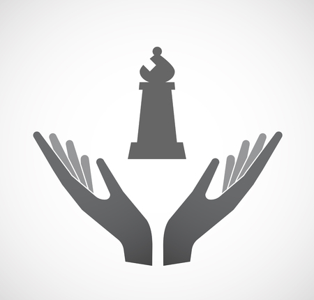 Illustration of an isolated hands offering sign with a bishop    chess figure Illustration