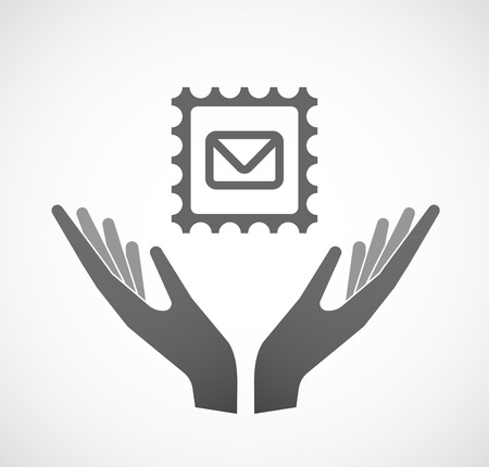 Illustration of an isolated hands offering sign with  a mail stamp sign