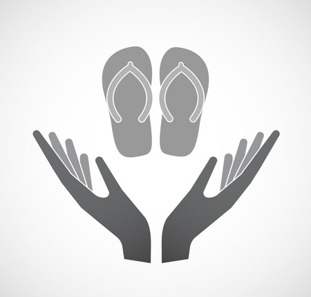 Illustration of an isolated hands offering sign with   a pair of flops Illustration