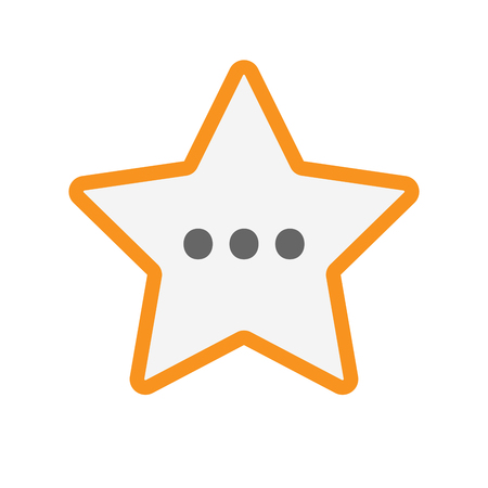 ellipsis: Illustration of an isolated line art star with  an ellipsis orthographic sign