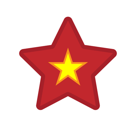 Illustration of an isolated line art star with  the red star of communism icon Illustration