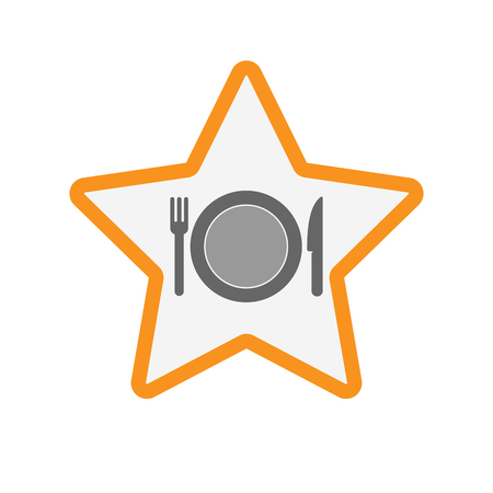 Illustration of an isolated line art star with  a dish, knife and a fork icon