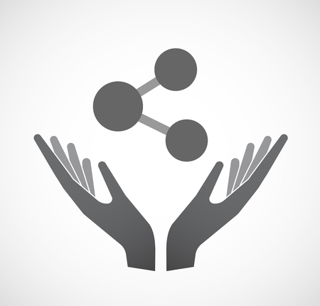 Illustration of an isolated hands offering sign with  a network sign Illustration
