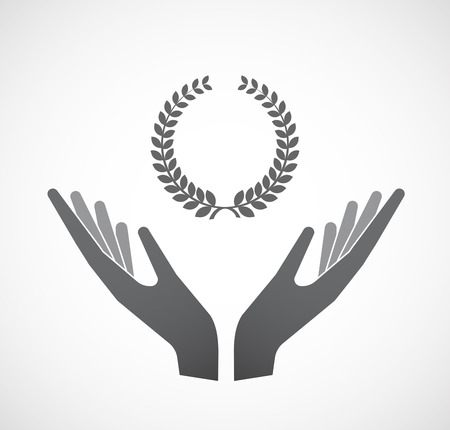 Illustration of an isolated hands offering sign with  a laurel crown sign Illustration