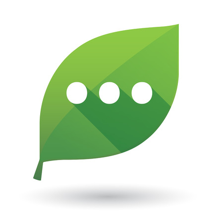 Illustration of an isolated long shadow green leaf sign with  an ellipsis orthographic sign Illustration