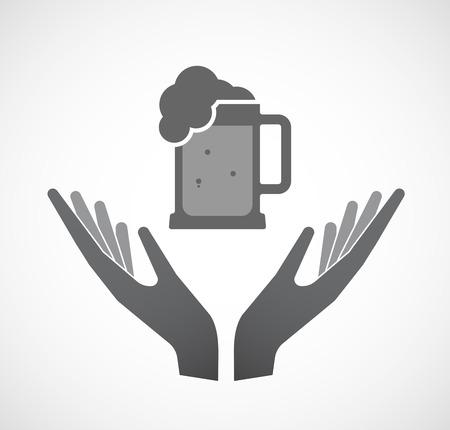 beer jar: Ilustración de un signo de las manos aisladas oferta con un icono de jarra de cerveza Vectores