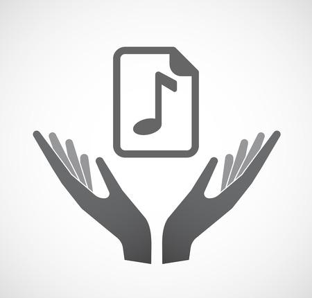 musique partition: Illustration d'une main offrant signe isolé avec une icône de partition