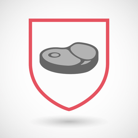 Illustration of an isolated line art shield with  a steak icon