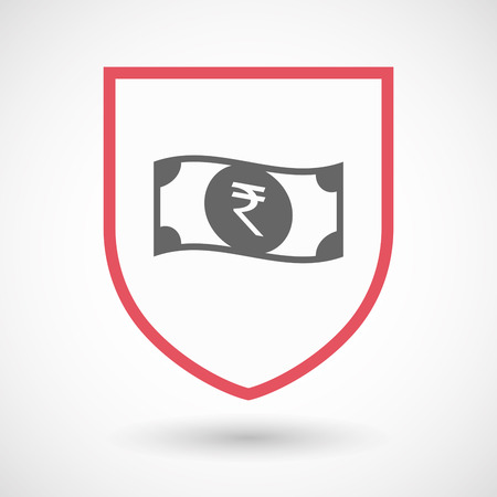 bank note: Illustration of an isolated line art shield with  a rupee bank note icon