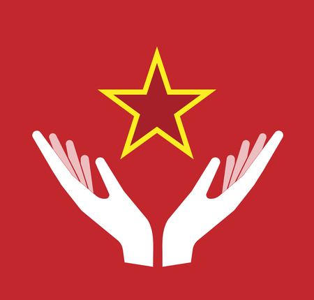 red star: Illustration of an isolated hands offering sign with  the red star of communism icon Illustration