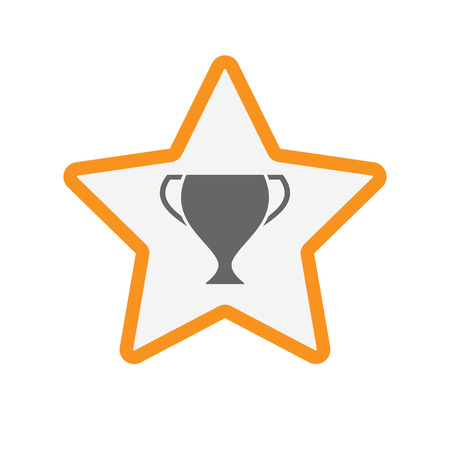 Illustration of an isolated line art star with  an award cup