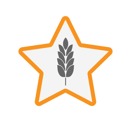 Illustration of an isolated line art star with  a wheat plant icon Illustration