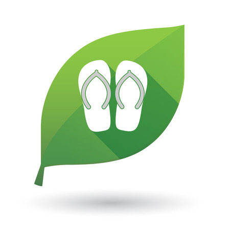 Illustration of an isolated long shadow green leaf sign with   a pair of flops Illustration