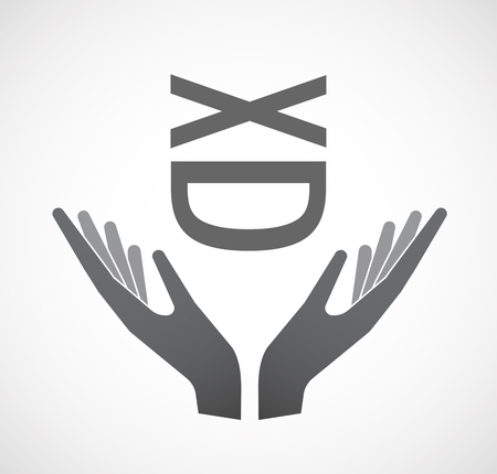 Illustration of an isolated hands offering sign with   a laughing text face