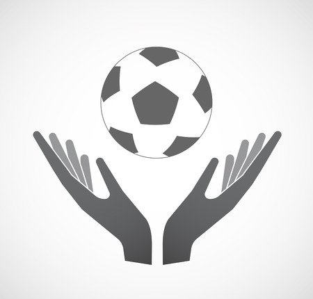 Illustration of an isolated hands offering sign with  a soccer ball