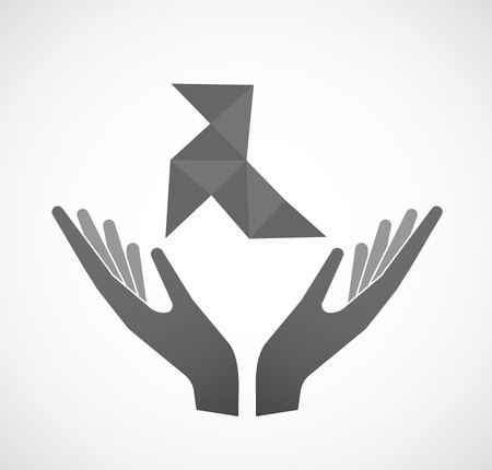 Illustration of an isolated hands offering sign with  a paper bird Illustration