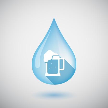 beer jar: Ilustración de una gota de agua larga sombra aislada con un icono de jarra de cerveza Vectores