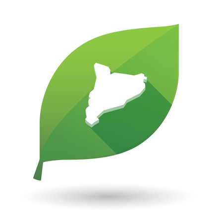 Illustration of an isolated long shadow green leaf sign with  the map of Catalonia Illustration