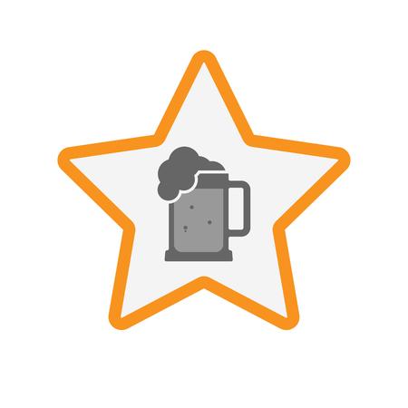 beer jar: Ilustración de un hecho aislado estrella de la línea de arte con un icono de jarra de cerveza