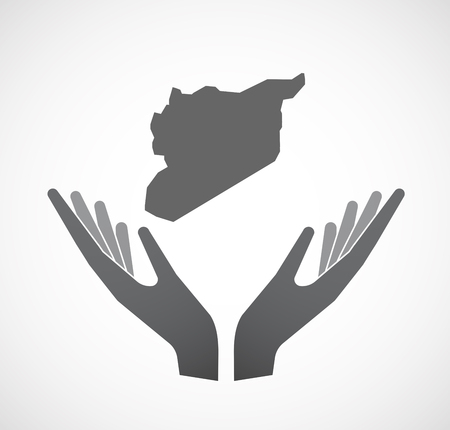 Illustration of an isolated hands offering sign with  the map of Syria