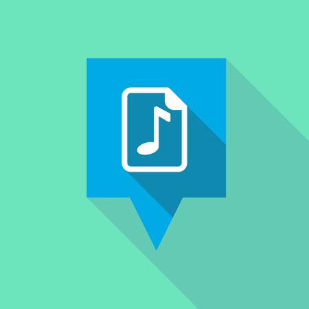 partition musique: Illustration d'une info-bulle de longue ombre avec une icône de partition