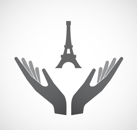 Illustration of an isolated hands offering sign with   the Eiffel tower Illustration