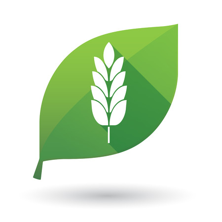 Illustration of an isolated long shadow green leaf sign with  a wheat plant icon Illustration