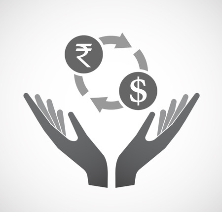 Illustration of an isolated hands offering sign with  a rupee and dollar exchange sign Illustration