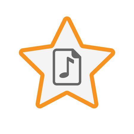 musique partition: Illustration d'une étoile d'art isolé ligne avec une icône de partition