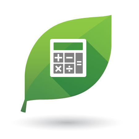 Illustration of an isolated long shadow green leaf sign with  a calculator